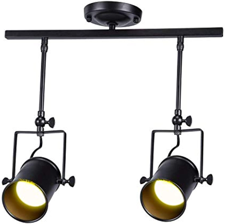 XHJJDJ Schwarzer Single Circuit LED Track Light Kit 4 x 40W Vintage Deckenstrahler - Küche, Büro, Shop-Display & Einzelhandel Kronleuchter (gre   2 Kpfe)