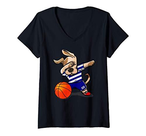 Mujer Dabbing Dog Perro Baloncesto de Grecia - Bandera griega Camiseta Cuello V