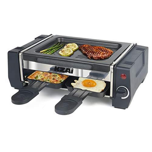 Mini Raclette Grill Ein 2 Personen, Raklettgerät mit 2 Raclette Pfännchen, Einstellbarer Thermostat Antihaft-Beschichtung, 500W
