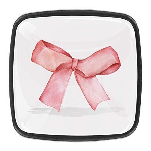 (4 piezas) pomos para armario de cocina, pomos de cajón de cristal, tiradores de cajón para casa, oficina, dormitorio, sala de estar, baño con tornillos, cinta roja de Pascua