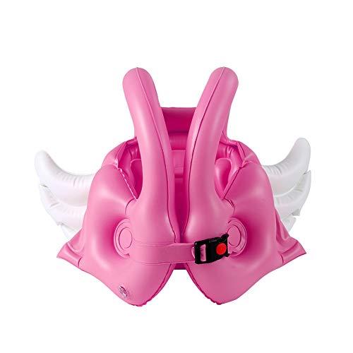 Anillo de natación, flotador inflable de goma para nadar, cartón inflable de goma flotador de goma para bebé anillo asiento barco, chebao Niños Angel Wing Chaleco inflable Flotador de PVC (rosa L)