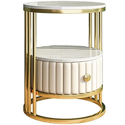 YUESFZ Beistelltisch Mit Ablage, Runder Hoher Beistelltisch Im Hellen Luxus-Wohnzimmer, Einfacher Ecktisch Aus Marmorschiefer, Haus Dekoration (Color : Golden B, Size : 55 * 60cm)