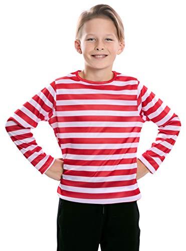 EUROCARNAVALES Camiseta con Rayas Rojas y Blancas para niños