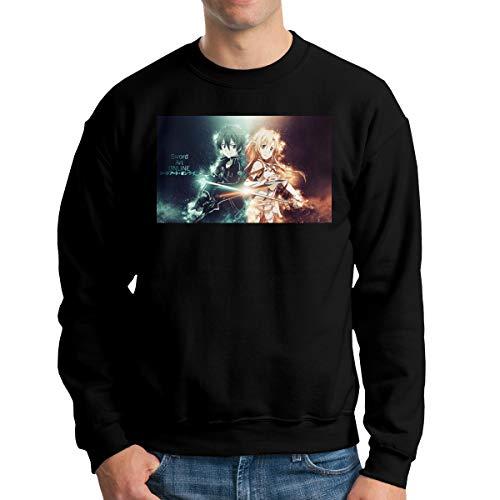 Weretlyop Swo-Rd Art On-Line Kirito As-UNA Yuuki Luxury Men's Crew Neck Hoodie Men's Graphic Pullover Hoodie Sweatshirt Black XL