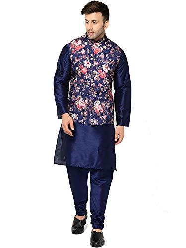ABH LIFESTYLE Men's Silk Navy Blue Kurta Pyjama & Printed Nehru Jacket