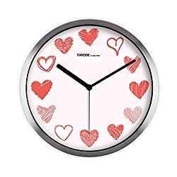 ZHAS Hall Wall Clock, Wedding Bedroom Living Room Flower Shop Gift Shop Bridal Shop Balcony The Mall Wall Clock Metal Wall Clock 30.5-35.5CM (Color : Silver, Size : 30.530.5CM)
