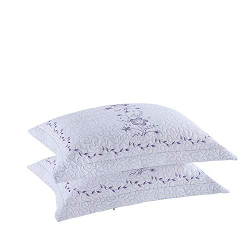 MarCielo 2 Pack Throw Pillow Covers Euro Sham Covers Pillow Shams Pillow Cover Embroidery (King, White/Lavender)