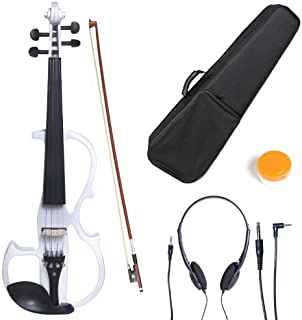Cecilio 4/4 CEVN-2W Solid Wood Pearl White Electric / Silent Violin with Ebony Fittings in Style 2 (Full Size)