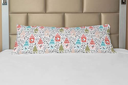ABAKUHAUS Voorjaar Hoes voor Ligzak met Rits, Bloemen Schets Vogelhuisjes, Decoratieve Lange Kussensloop, 53 x 137 cm, Veelkleurig