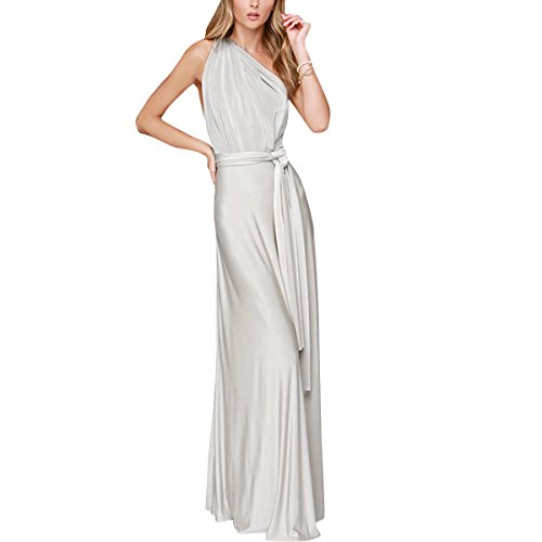 Women Transformer Convertible Multi Way Wrap Long Prom Maxi Dress V-Neck Hight Low Wedding Bridesmaid Evening Party Grecian Dresses Boho Backless Halter Formal Cocktail Dance Gown Light Grey Small