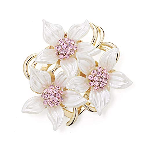 Qpodgq Broche Broche De Flores De Camelia Nupcial Alfileres De Diamantes De Imitación Rosa Broches De Hojas Increíbles