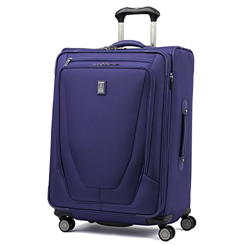 Travelpro Crew 11-Softside Expandable Luggage with Spinner Wheels, Indigo, Checked-Medium 25-Inch
