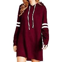 Yesmile Mujer CamisetasLas Mujeres Camisa Las Mujeres Forman la Nueva Sudadera con Capucha Larga de la Manga Larga del Jersey del Jersey del Vestido (Vino, S)