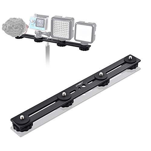 UTEBIT Dual Flash Bracket 30cm/11.8 Inch Blitzschienen Light Bracket Blitzschuh Halterung für 1/4 Zoll Schraube DSLR-Kamera LED-Licht Blitzlichtmikrofon