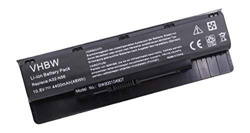vhbw Batterie 4400mAh pour Notebook ASUS N46, N46V, N46VM N56, N56D, N56V, N56VJ, N56VZ, N76, N76V, N76VM, N76VZ remplace A31-N56, A32-N56, A33-N56.