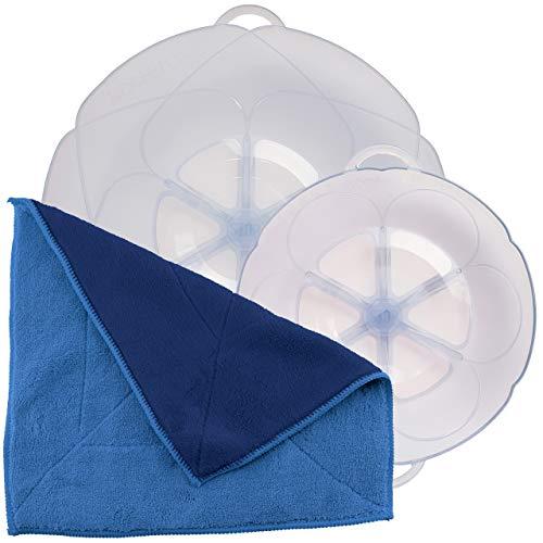 Kochblume Spar-Set für Töpfe von 14 bis 24 cm mit Microfasertuch als Set in der pinken Box | Silikon Überkochschutz für Töpfe und Pfannen (eisblau)