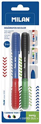 Blister 2 bolígrafos Sway Combi Duo, azul-rojo y negro-verde NUEVO