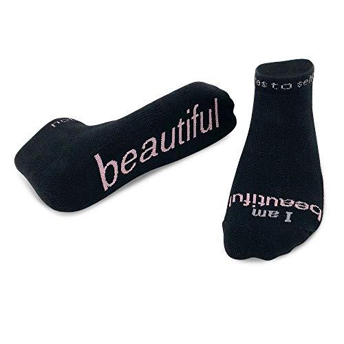 Inspirational Socks - Daily Affirmations, beautiful lc black - pink M