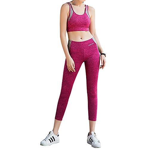 Yoga-Bekleidung für Frauen, stoßfester Sport-BH und Hose zweiteilig, Lauf- / Tanzsportbekleidung,Rosered-L
