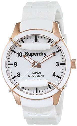 Superdry SYL128W - Reloj analógico de Cuarzo para Mujer, Correa de Silicona Color Blanco
