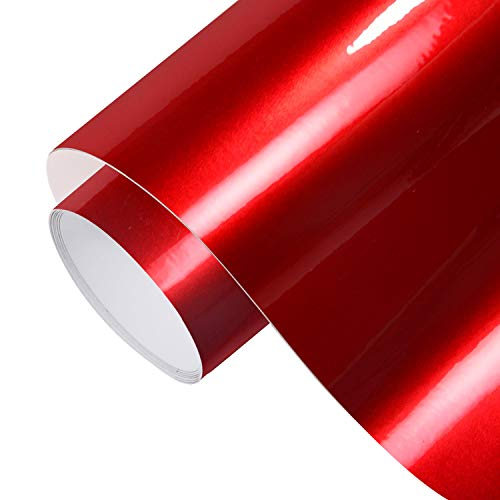 TECKWRAP Glossy Red Adhesive Vinyl Car Wrap Film Roll with Air Release 11.5