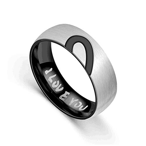 PROTUSTER Couple Rings Real Love Heart Promise Rings Stainless Steel Love You for His and Hers Rings Heartshaped Wedding Engagement Bands Top Ring for Couples (7,Men)