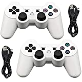 Tidoom PS3 Controller 2 Pack Wireless Bluetooth 6-Axis Gamepad Controllers Compatible for Playstation 3 Controller PS3 Wireless Controller White 2 pcs