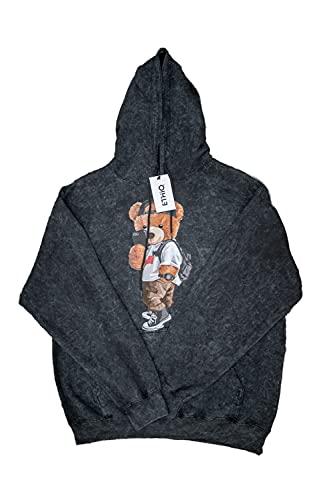 SELFIE TEDDY - Sudadera unisex con capucha para adultos, de manga larga, ajuste regular, para interiores y exteriores, uso casual, Ácido Lavado Negro, S