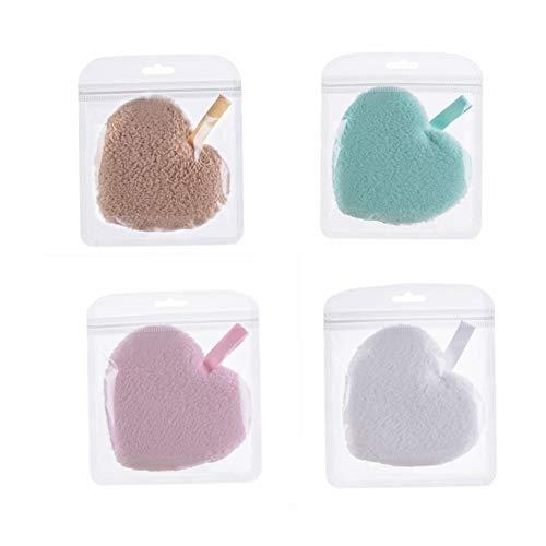 Ssowun Houppette de Maquillage 4 Pièces, Houppette Coeur Éponge Cosmétique Puff Nettoyage Visage Éponge Nettoyante Puff pour BB Crème Liquide Fondation