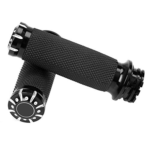 "WINALL 1"" Black CNC Hand Grips Motorcycle Bar Grips for Harley Touring Dyna Softail"