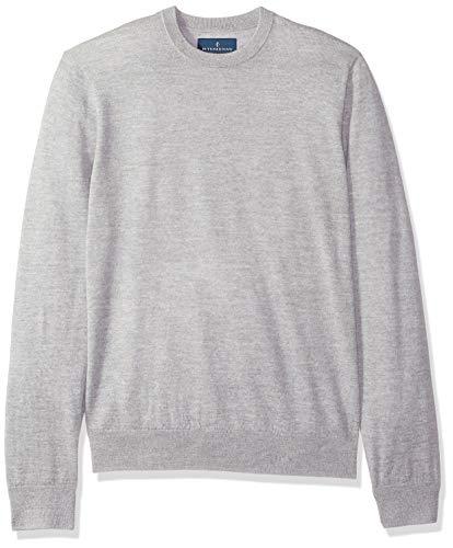 BUTTONED DOWN Men's Italian Merino Wool Lightweight Cashwool Crewneck Sweater, Grey Heather, Large