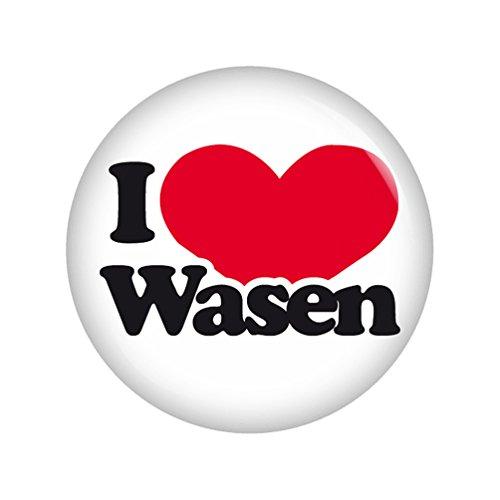 Kiwikatze® Regional - I love Wasen 37mm Button Ansteckbutton Pin Geschenk Mitbringsel Volksfest für Dirndl oder Lederhose