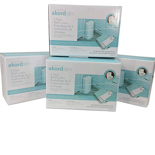 (8) Pack of Akord 280 Slim Refill Liners - Adult Diaper Disposal Refills In 4 Total Boxes Using The Akord Continuous Liner System Of Disposal.