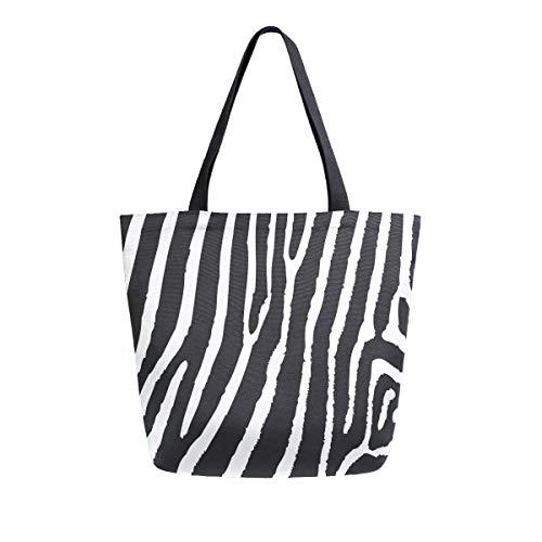 Bolso de mano con asa superior, diseño de cebra con estampado de leopardo y rayas de lona lavada, para mujeres y niñas