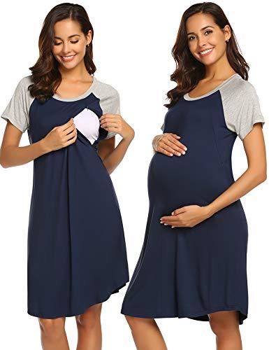 Ekouaer Maternity Dress 3 in 1 Delivery/Labor/Nursing Nightgown Women Maternity Hospital Gown Zipper Breastfeeding Sleepwear