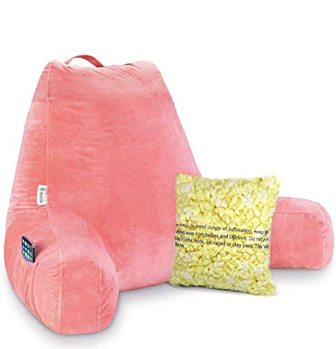 Vekkia Premium Soft Reading & Bed Rest Pillow with Memory Foam, Support Arms, Pockets, Removable Cover. Perfect Back Support for Reading/Relaxing/Watching TV –Extra Foams Incl. (24 in, Coral Pink)