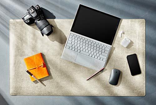 Delancey USA 36 x 20 Inches Beige Office Desk Pad, Leather Desk Blotter Pad, Desk Mat Protector