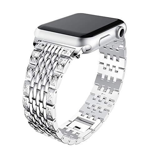 LAAGFC Serie de Apple Correa de Reloj de Las Mujeres del Diamante for la Banda 4 5 40 mm 44 mm de Oro Rosa de IWatch for 3/2/1 Acero Inoxidable Correa 38mm 42mm Pulsera