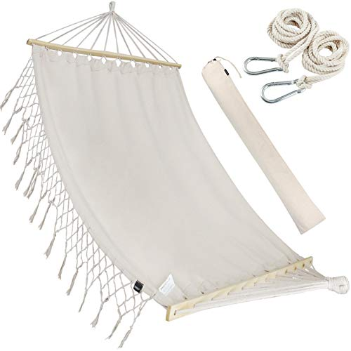 Double White Natural Cotton Handmade Hammock Beautiful Boho Style, Brazilian Deluxe Hammock Bed of Indoor Bedroom or Outdoor Tree, Patio, Porch, Yard, Beach for Camping, Hiking, Travel, Decor