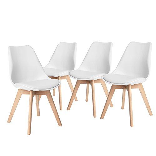 FurnitureR Juego de 4 sillas de comedor Eames modernas de mediados de siglo Silla lateral tapizada con patas de madera de haya y silla de tulipán de concha acolchada suave para...