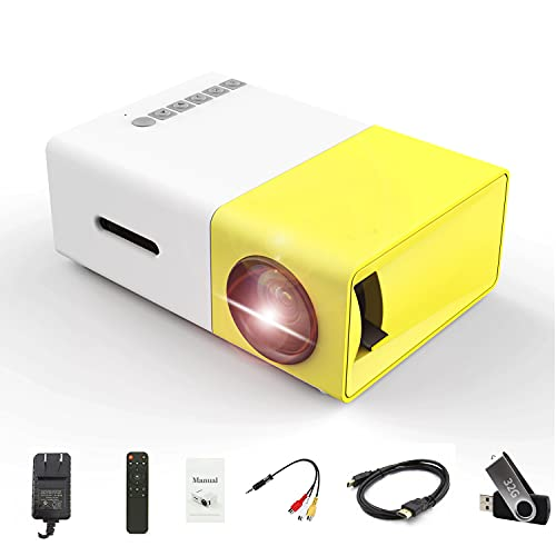 Mini Projector,Portable Projector Movie Projector with 32G USB Flash Driver and HD Cable Remote Control , Small Outdoor for Cartoon, Kids Gift,LED Pico Video Projector for Home Theater YG300 Plus
