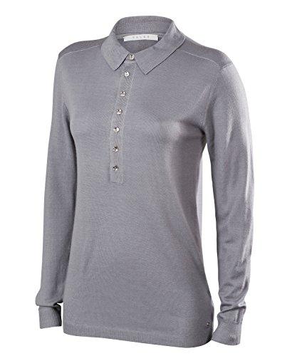 FALKE Damen Golf Langarm Knopfleisten Polo Poloshirt, Grey-Heather, XL