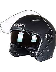バイクヘルメット ジェットヘルメット バイク用オシャレ 半帽ヘルメット ジェットヘルメット ハーフヘルメット 原付 メンズ レディース ダブルシールド 超軽量 紫外線防止 JK-512