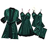 Lazzboy Dessous Frauen Silk Lace Babydoll Nachtwäsche Nachthemd Pyjamas Set Kimono Damen Morgenmantel Satin Bademantel Seide Roben V Ausschnitt Mit Blumenspitze (Armeegrün,4XL)