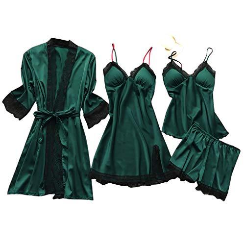 Lazzboy Dessous Frauen Silk Lace Babydoll Nachtwäsche Nachthemd Pyjamas Set Kimono Damen Morgenmantel Satin Bademantel Seide Roben V Ausschnitt Mit Blumenspitze(Armeegrün,2XL)