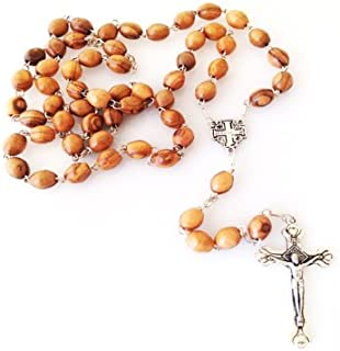 Olive Wood Rosary with Metal Crucifix