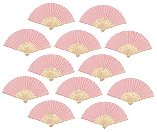Abanico Plegable de Mano de Tela, Abanico DIY de Bambú y Papel, Regalo Recuerdo Detalles comunion para invitados de Boda, 12 Pcs de Color Rosa