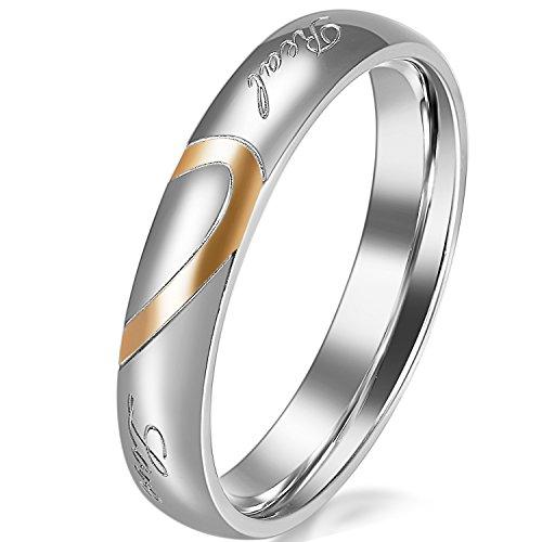 JewelryWe Schmuck Partnerringe, Freundschaftsringe, Edelstahl, Herz, Damen-Ring, Gold Silber, Größe 48 - mit Geschenk Tüte