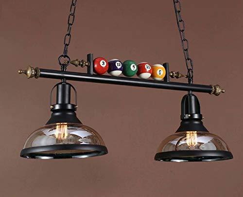 Candelabros de decoración de billar, candelabro de luz colgante de 2 luces para sala de billar, restaurante, bar, accesorios de iluminación de techo de hierro forjado E27, pantalla de vidrio
