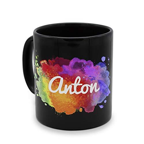 printplanet - Tasse Schwarz mit Namen Anton - Motiv: Color Paint - Namenstasse, Kaffeebecher, Mug, Becher, Kaffeetasse